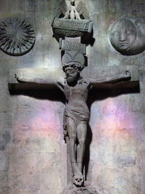 十字架のイエスにやさしい光