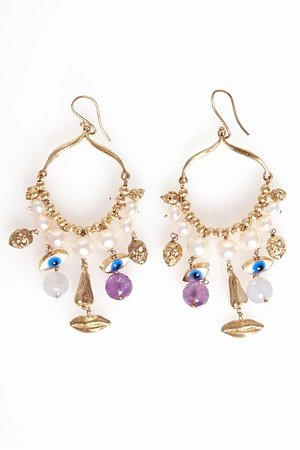 Gold Salome Face Earrings