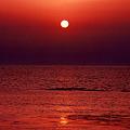 象潟夕陽に染まる