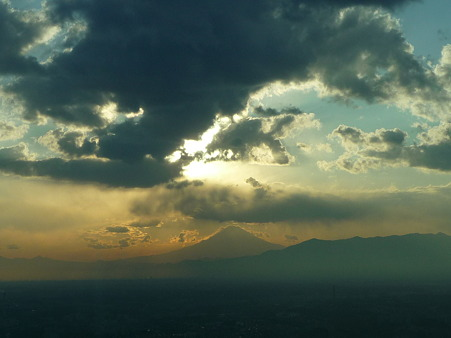 100310-富士山と夕陽