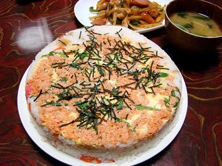 雛祭りでケーキ風押し寿司♪