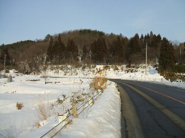 福島県道64号の冬 - 生井 - 1stヘアピンカーブ