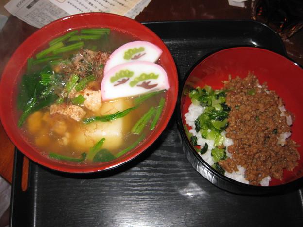 Photos: お雑煮と野沢菜・肉ごはん
