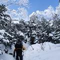 Photos: 雪壁を登る